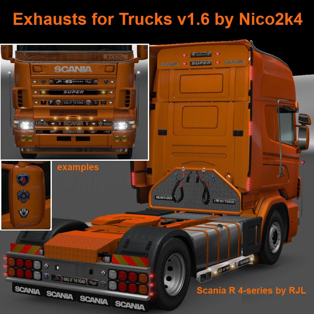 Exhausts For Trucks V1 6 By Nico2k4 Tuning Mod Ets2 Mod