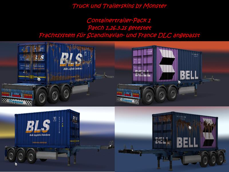 CONTAINER TRAILER PACK ALL DLC TRAILERS ETS2 - ETS2 Mod