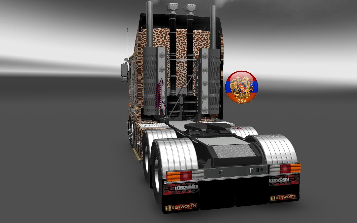 kenworth k200 w900 long leopard skin truck skin ets2 mod. Black Bedroom Furniture Sets. Home Design Ideas