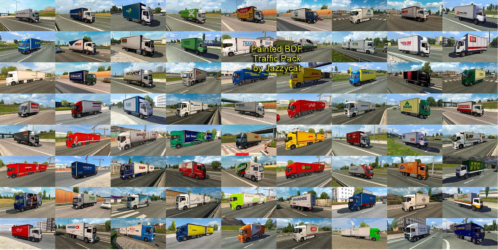 PAINTED BDF TRAFFIC PACK BY JAZZYCAT V1 7 MOD FOR ETS2