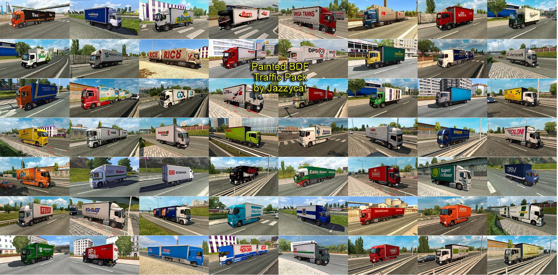 painted bdf traffic pack by jazzycat v2 0 mod   ets2 mod