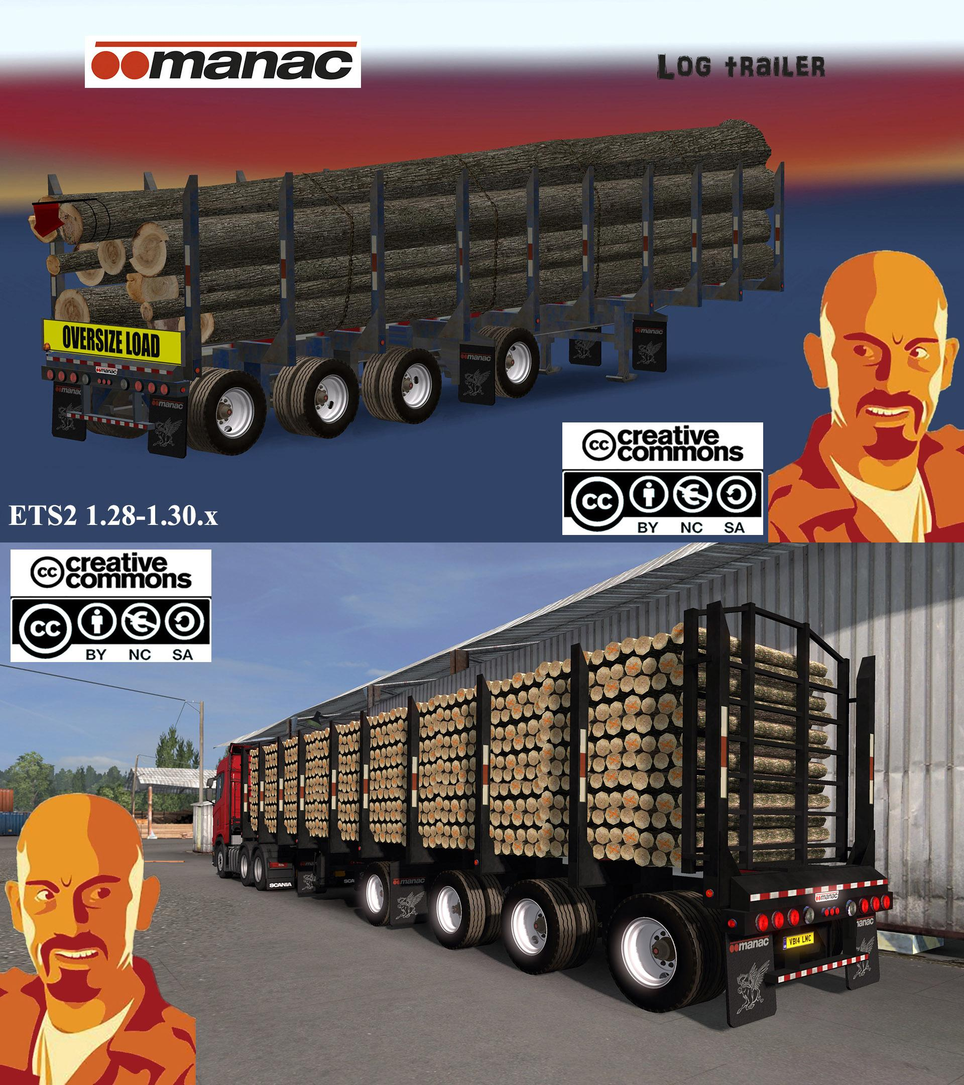 MANAC 4 AXIS LOG TRAILER ETS2 1 28 - 1 30 X MOD - ETS2 Mod