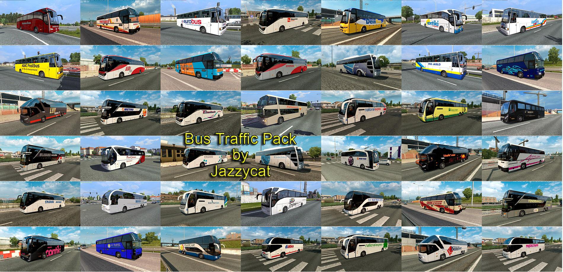 BUS TRAFFIC PACK BY JAZZYCAT V3 4 ETS2 - ETS2 Mod