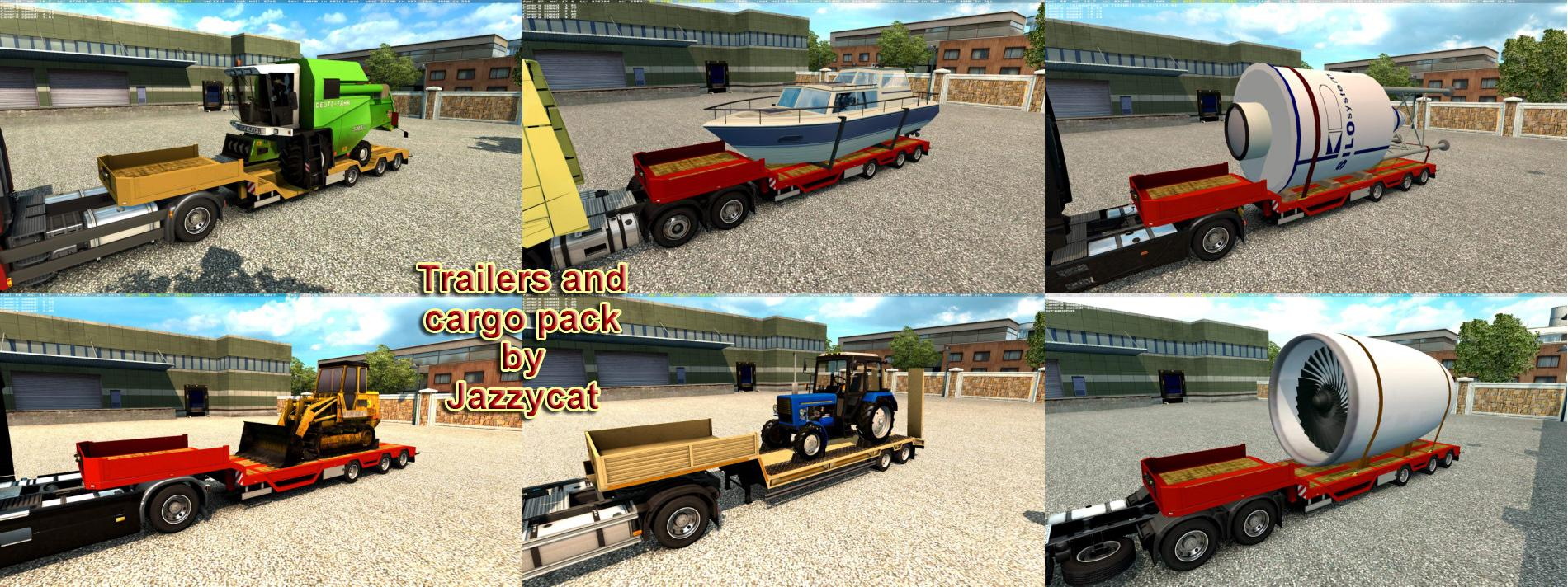 TRAILERS AND CARGO PACK BY JAZZYCAT V6 7 ETS2 - ETS2 Mod