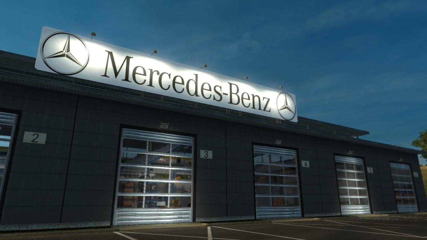 mercedes benz garage v1 0 mod ets2 mod. Black Bedroom Furniture Sets. Home Design Ideas