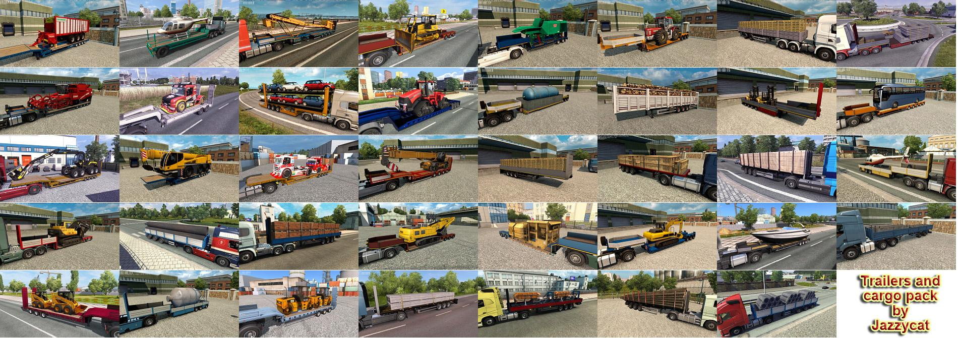 TRAILERS AND CARGO PACK BY JAZZYCAT V6 8 ETS2 - ETS2 Mod