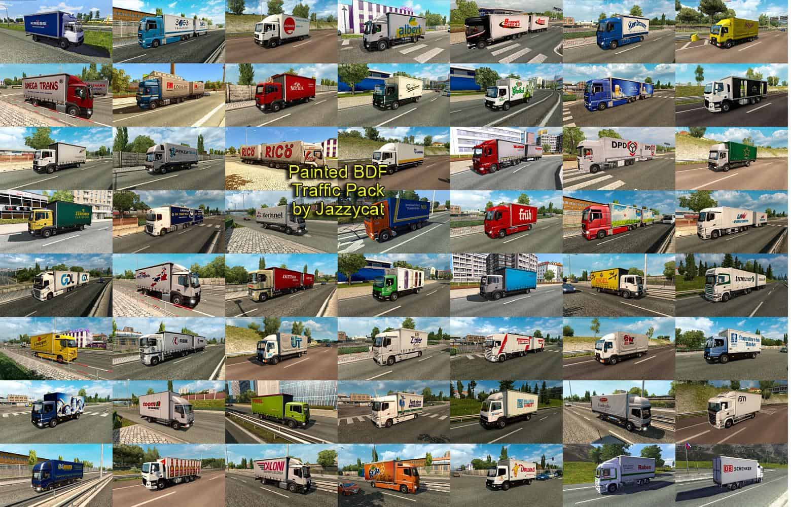 PAINTED BDF TRAFFIC PACK BY JAZZYCAT V4 5 MOD - ETS2 Mod