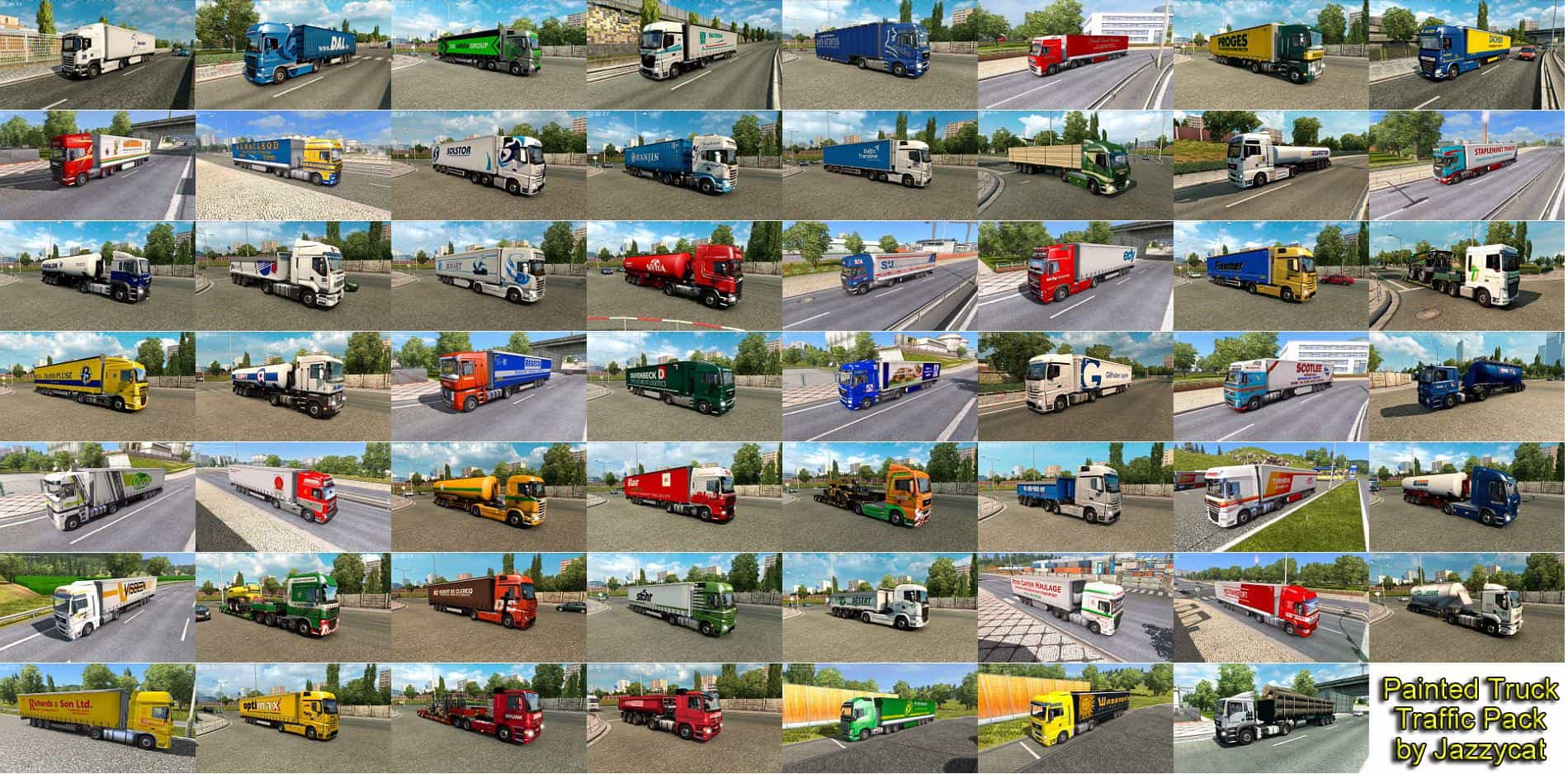 PAINTED TRUCK TRAFFIC PACK BY JAZZYCAT V7 7 ETS2 - ETS2 Mod