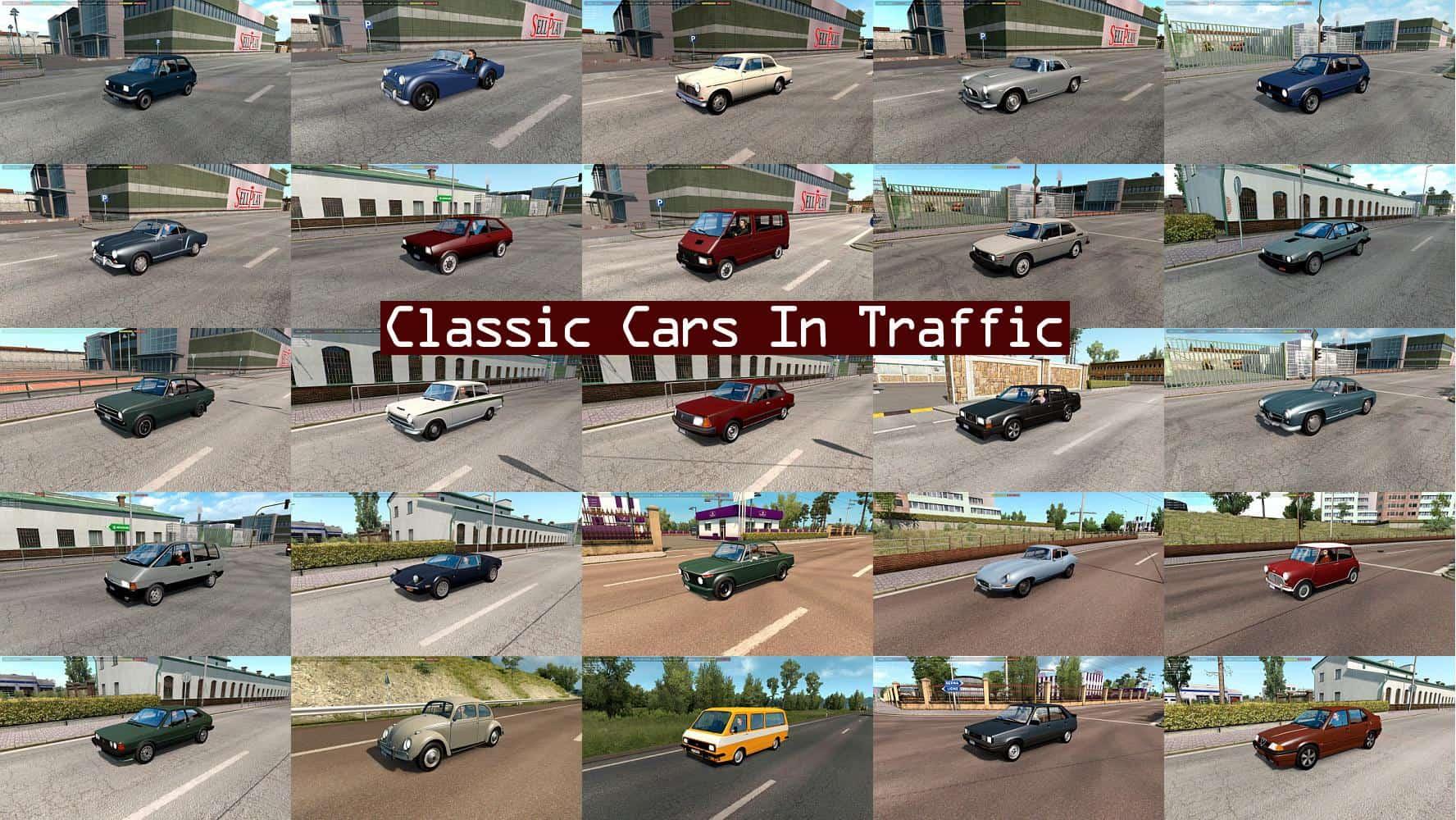 CLASSIC CARS TRAFFIC PACK BY TRAFFICMANIAC V3 1 ETS2 - ETS2 Mod